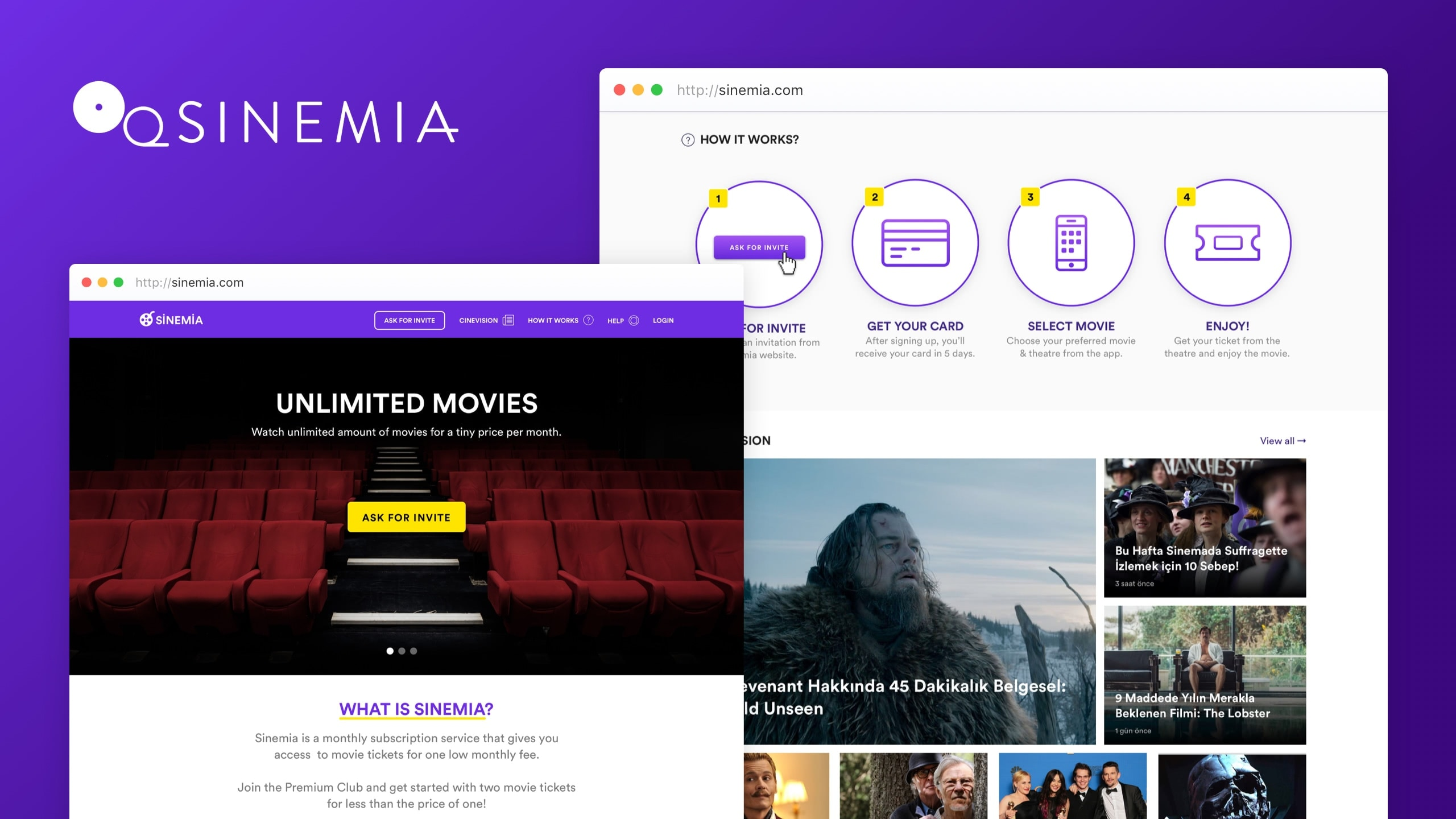 Screenshots from Sinemia